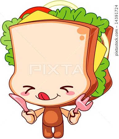 图库插图: 可爱三明治图片