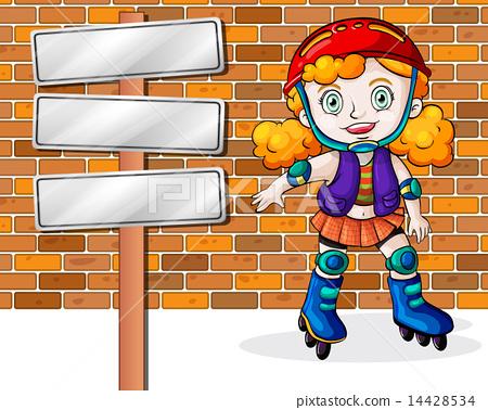 图库插图: a girl rollerskating beside the empty signages