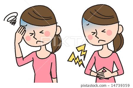 图库插图: 胃痛 腹痛 头疼