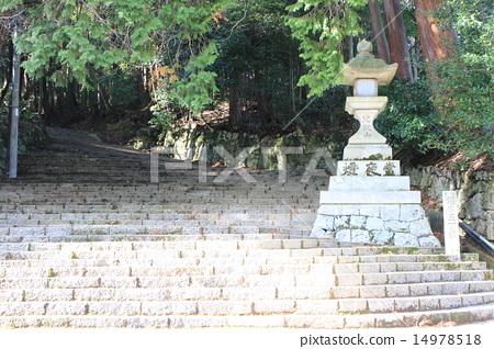 图库照片: 灯笼 比睿山 石阶