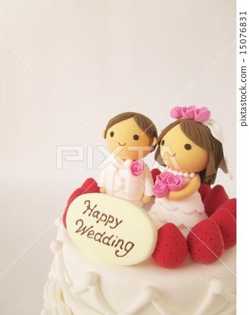 图库照片: 新郎新娘 婚礼蛋糕 粘土