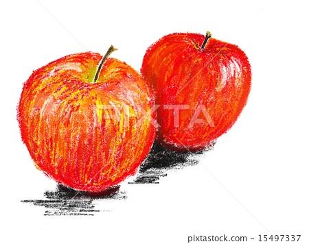 图库插图: 苹果 水果 蜡笔画