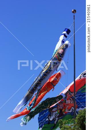 图库照片: 男孩节 飘扬的旗幡 旗帜