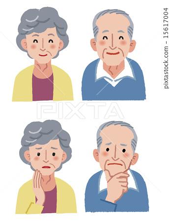 图库插图: 老人 矢量 面部表情