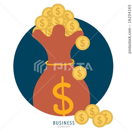 图库插图: saving money bag with money coin