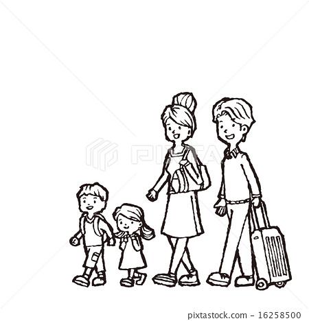 图库插图 家庭旅行 画线 矢量