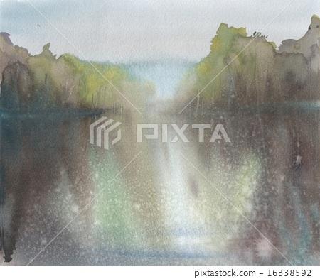 河_池塘 池塘 插图 井之头公园 水彩 水彩画 首页 插图 风景_自然 河