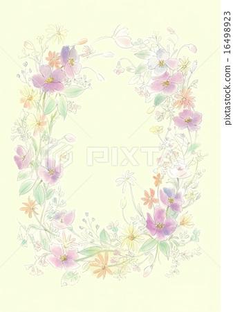 插图素材: 水彩绘图绘图触摸花椭圆形状与花环和布局