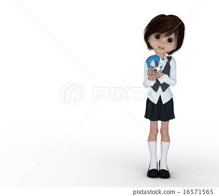 女性 女孩 插图 3dcg女孩高中生变形烫发插图素材 首页 插图 人物