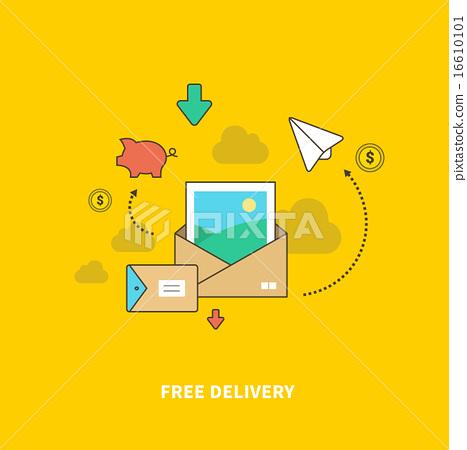 图库插图: concept of free delivery as saving money