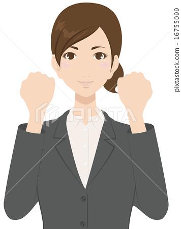 图库插图: 握拳 矢量 白领