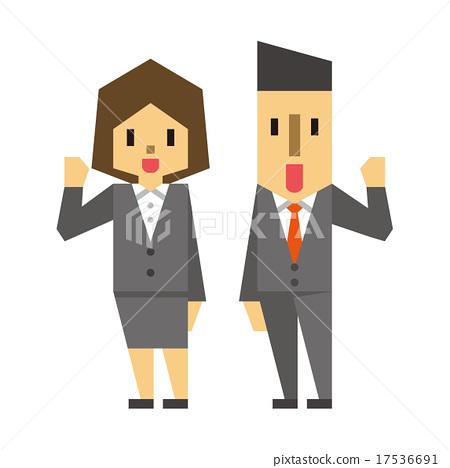 图库插图: 办公室工作人员的男人和女人图片