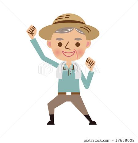 图库插图: 老人 握拳 矢量