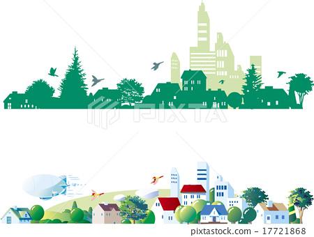图库插图: 街道树 行道树 场景