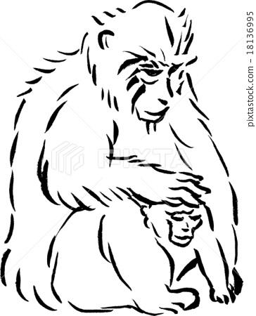 猴子和松鼠简笔画