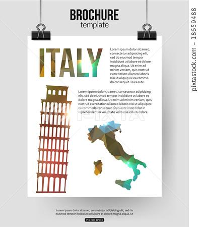 图库插图: italy travel background. brochure with italy map