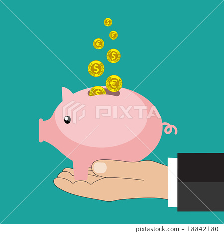 图库插图: flat saving money concept background.