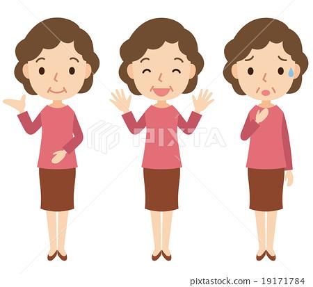 插图素材: 中年女性面部表情姿势集