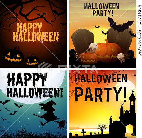 插图素材: four happy halloween poster design