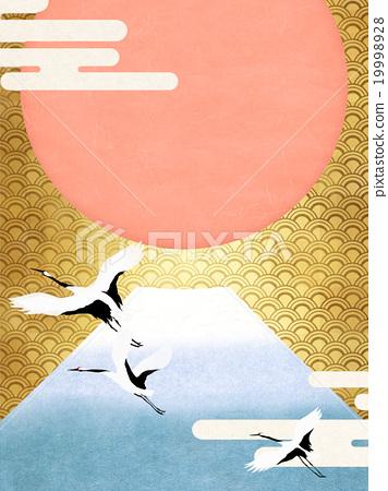 插图 动物_鸟儿 鸟儿 鹤 日本风格 日式风格 和风  *pixta限定素材仅