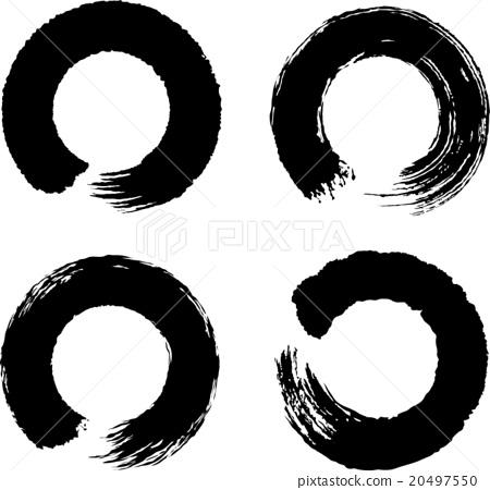 图库插图: 圆圈 圆的 毛笔绘画