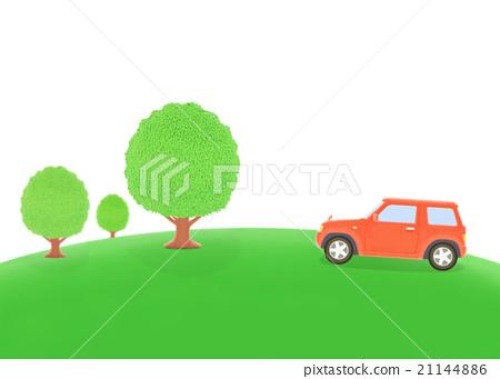 汽车尾气排放绿叶