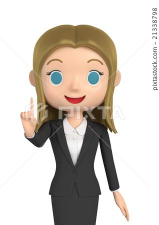 插图素材: 指向商界女强人