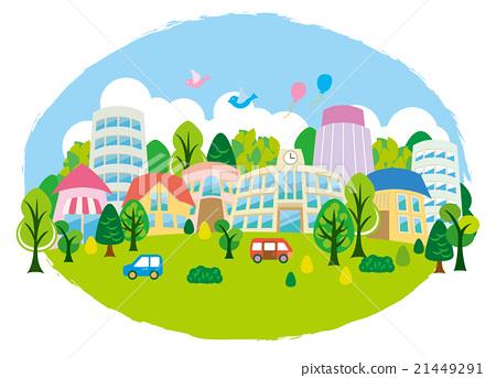 插图素材: 有趣的小镇生态绿色圆