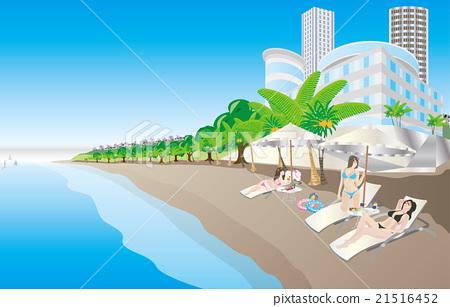 图库插图: 矢量 海岸 沙滩椅