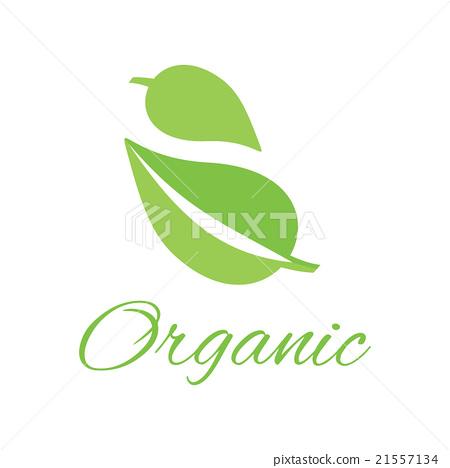 图库插图: organic logo green leaf design flat图片