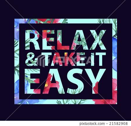 图库插图: vector inspirational quote relax and take it easy
