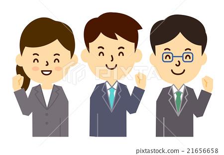 插图素材: 员工微笑多个胆量姿势