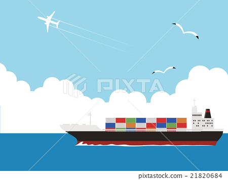 图库插图: 货船 货轮 矢量