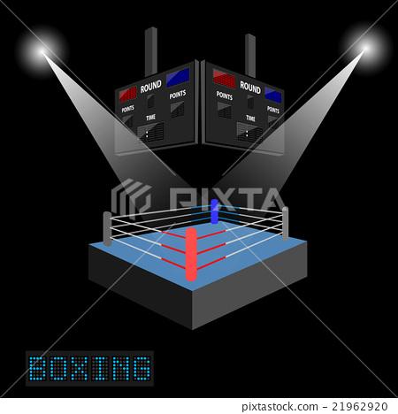 插图素材: boxing ring surrounded by spotlight