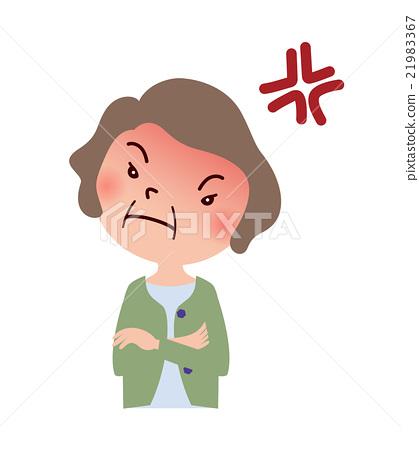 插图素材: 愤怒的中年家庭主妇