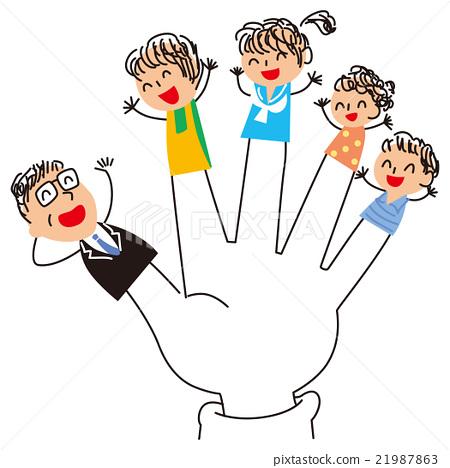 图库插图: 手指形状的家庭支持父亲图片