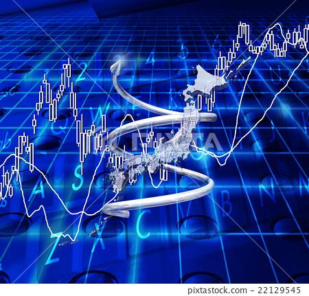 插图素材: 股票价格上涨与螺旋和日本地图