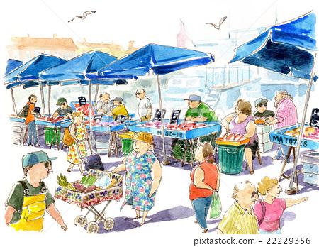 图库插图: 菜市场 市场 集市
