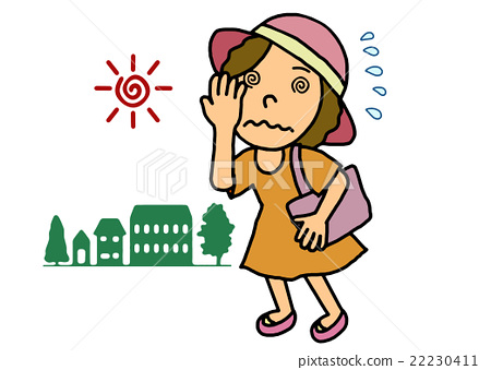 头痛 首页 插图 人物 女性 女孩 中暑 头疼 头痛  *pixta限定素材仅在