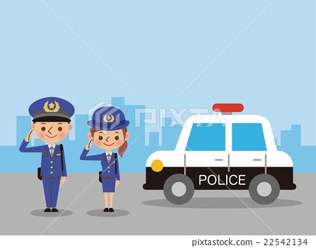 图库插图: 警车和敬礼警察(男女)