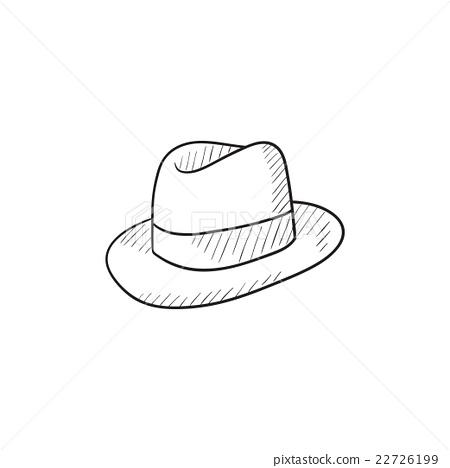 图库插图: fedora hat sketch icon.