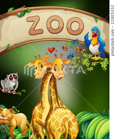 图库插图: zoo sign and many animals