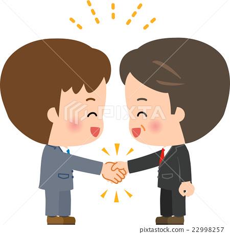 图库插图: 一个男人与西装握手图片
