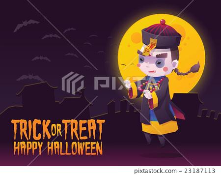 图库插图: chinese hopping vampire ghost for halloween card