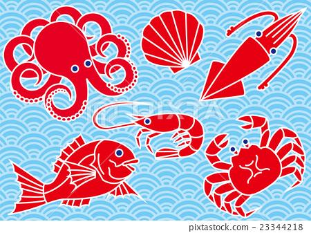 图库插图: 海鲜 海产品 矢量