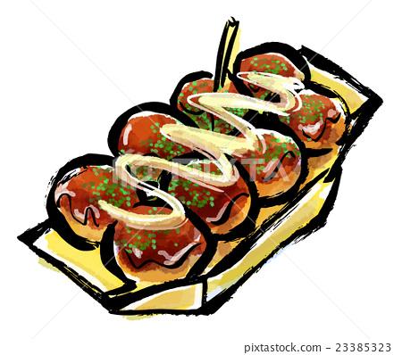 水彩画 手绘 垃圾食品 首页 插图 料理_食物 和食 章鱼烧 水彩画 手绘