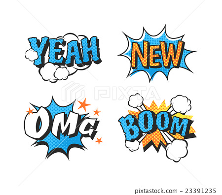 插图素材: popart comic speech bubble boom effects vector.