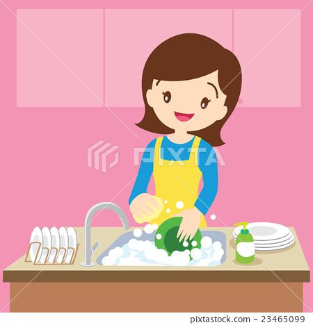 图库插图: mom dish washing