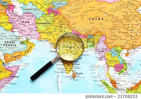 图库照片: 世界地图 地图 印度