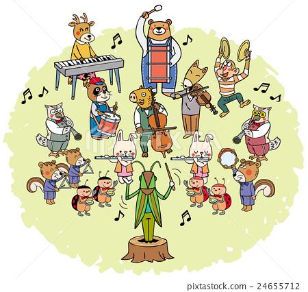 图库插图: 音乐节 动物 音乐